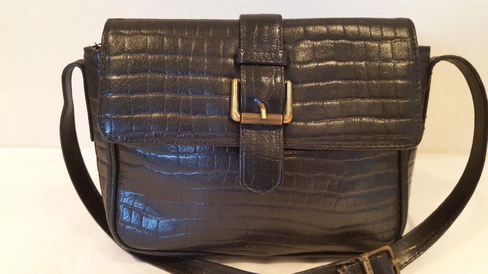Picard Vintage Small Black Quality Croc Leather Hand Bag