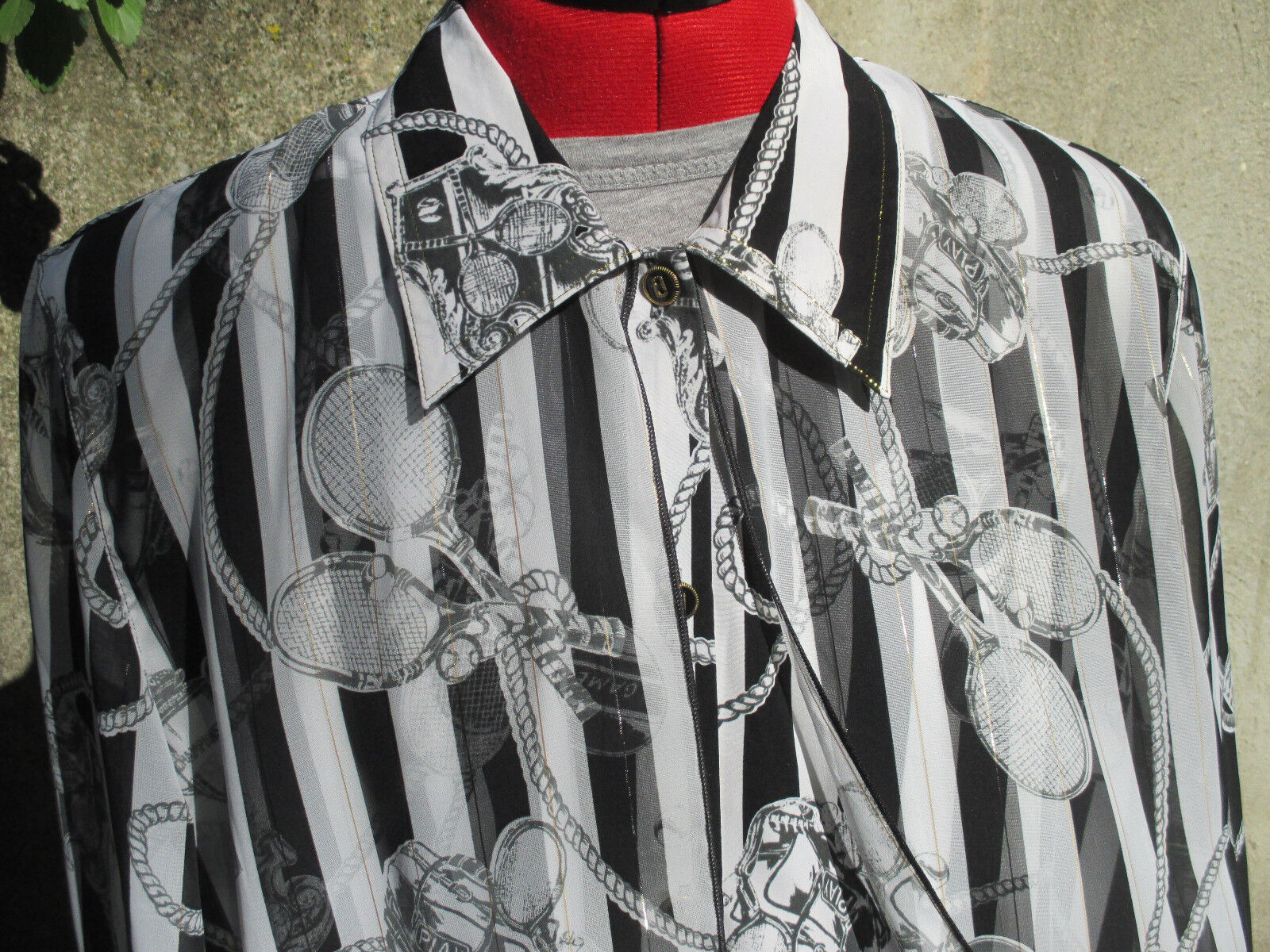 Won Moa Tennis Theme Womans Blouse Button Up Sheer Long Sleeves Rackets XL