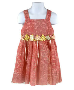 Rare-Editions-Girls-Dress-4T-Pink-Floral-Sleeveless-Polka-Dot-Special-Occasion