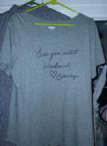 women-039-s-shirt-L-gray-Old-Navy-NWT-See-you-next-weekend-Saturday-100-cotton