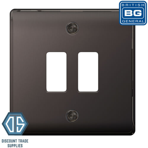 BG Nexus Metal Black Nickel 2 Gang Metal Front Cover Plate GNBN2