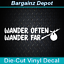 WANDER OFTEN WANDER FAR . Gypsy Hippie Boho Travel Car Sticker Vinyl Decal .