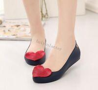 Ladies Girls Heart Jelly Shoes Hidden Heel Wedge Summer Beach Sandals Shoes Chic
