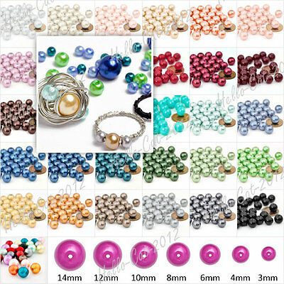 3mm 4mm 6mm 8mm 10mm 12mm 14mm Round Czech Glass Pearl Jewellery Craft Bead Lots