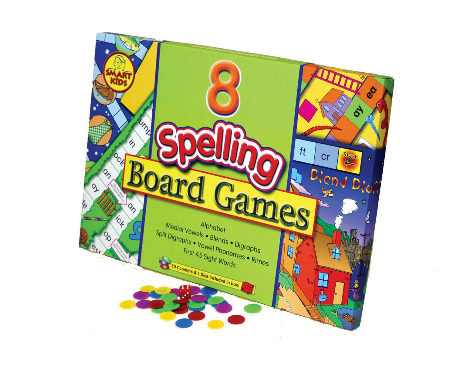 Smart Kids Eight Spelling Board Games - NEW