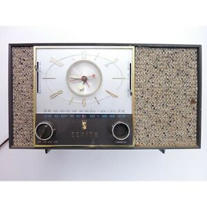 Vintage-Zenith-Alarm-Clock-AM-FM-Tube-Radio-not-working