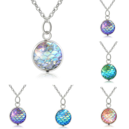 Fashion Women's Mermaid Fish Scale Charm Pendant Silver Chain Necklace Jewelry