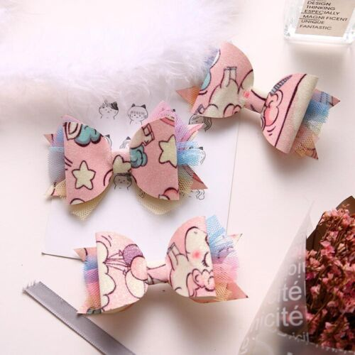 Unicorn Sequined Lace /& Bow Hairpin Clips Hair Accessories For Kids Baby Girls~