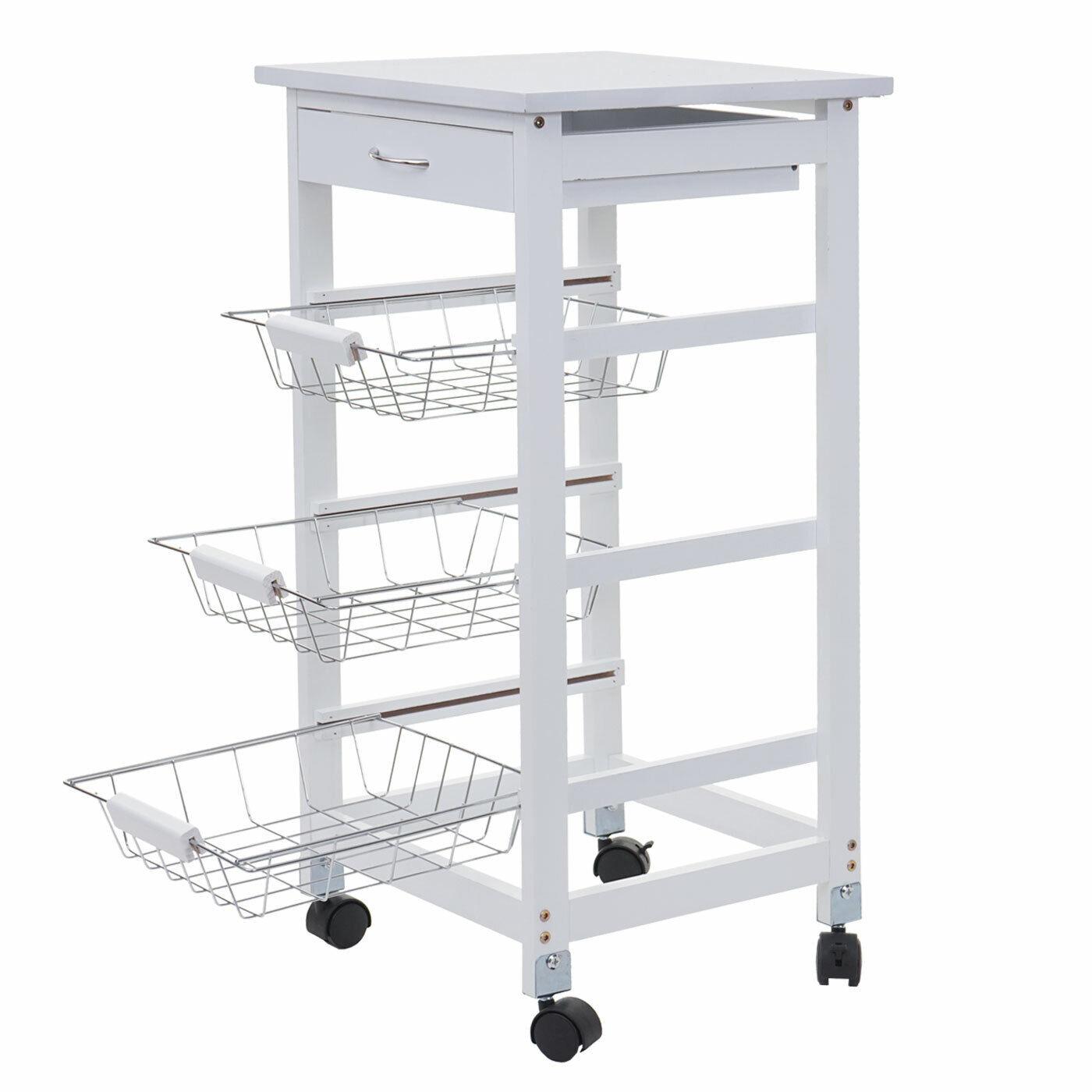 Trolley hwc-b69, Bar Cart, Kitchen Trolley Drawer 76x37x37cm White