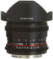 New Samyang De-clicked HD 8mm T3.8 Cine Fisheye Lens w/ Removable Hood for Canon