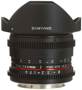 New-Samyang-De-clicked-HD-8mm-T3-8-Cine-Fisheye-Lens-w-Removable-Hood-for-Canon