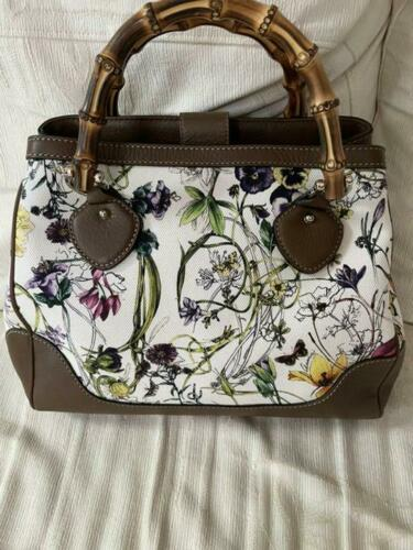 Gucci Diana Canvas Flower Bamboo 2Way Hand Should… - image 1