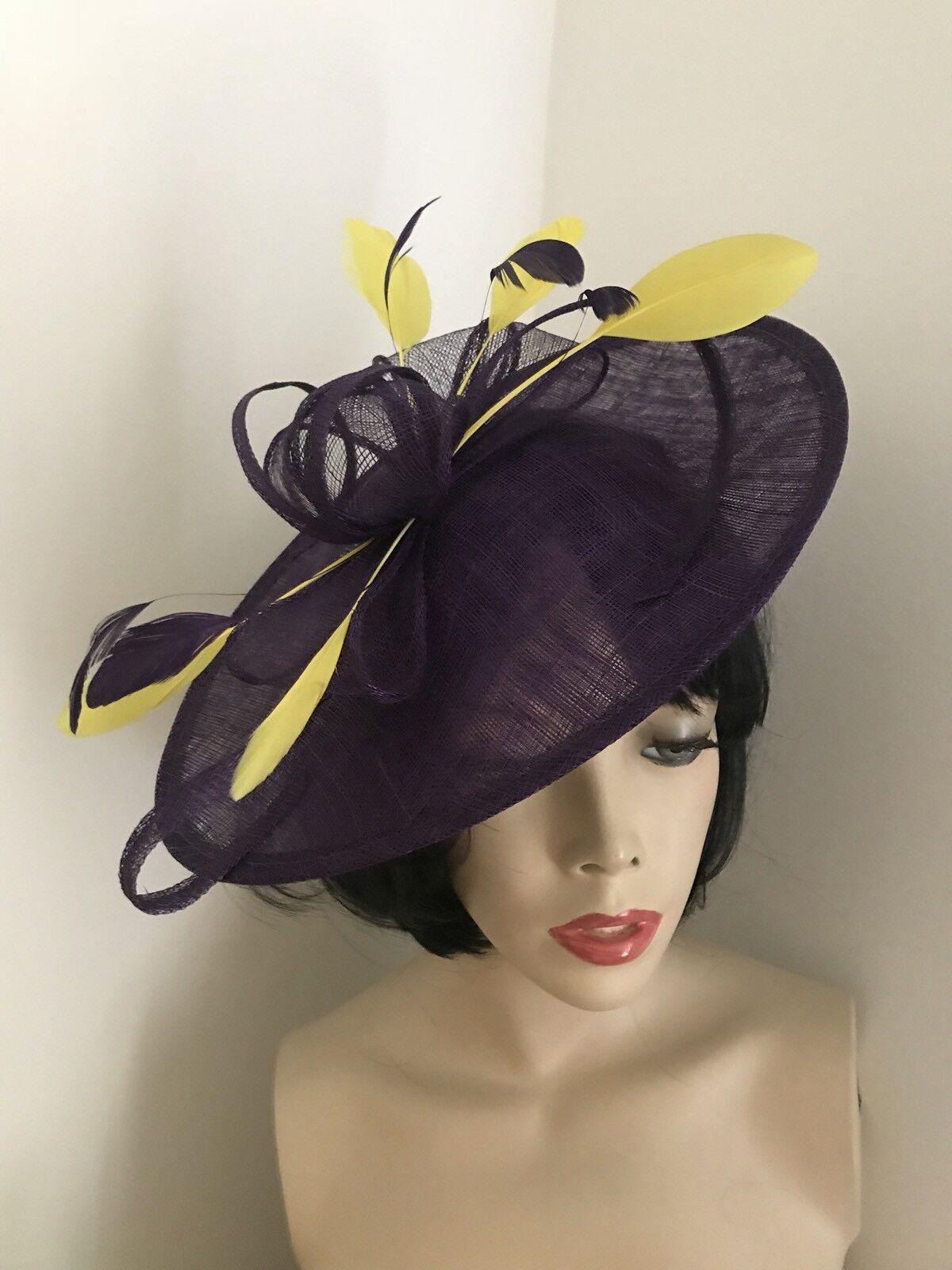 Purple Yellow Fascinator Saucer Hat Hatinator Races Disc Feathers Wedding Ascot