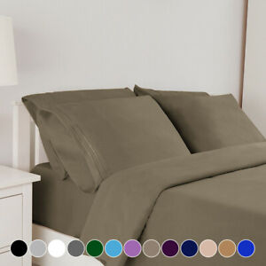 Comfort 1800 Count 6 Piece Bed Sheet Set Egyptian Fitted Deep Pocket King Size