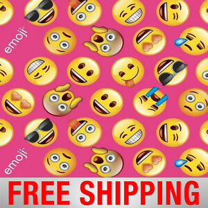 Fleece fabric emoji pink wide style bb 1245 1 free shipping ebay for Emoji material by the yard