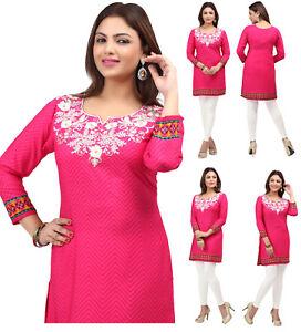Women-Fashion-Embroidery-Pink-Indian-Short-Kurti-Tunic-Kurta-Kurta-Dress-177B