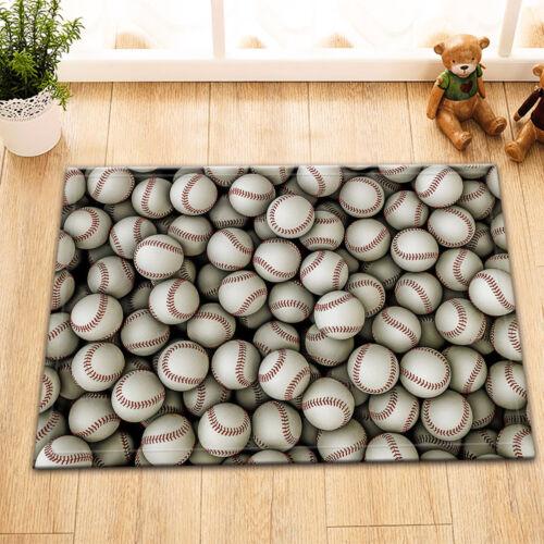 """15X23/"""" Kitchen Bathroom Floor Non-Slip Mat Rug Carpet Toilet Covers Baseballs"""