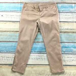 Ann-Taylor-Loft-Womens-Pants-size-14-Pink-Beige-Slim-Skinny-Ankle-Cotton-Stretch