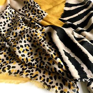 UK Women Leopard Print Animal Scarf  Mustard Yellow Red Black Scarves Shawl Wrap
