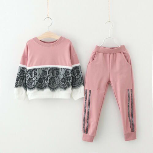 Toddler Kids Baby Girl Lace Pullover Sweatshirt Tops+Pants Outfits Clothes Sets