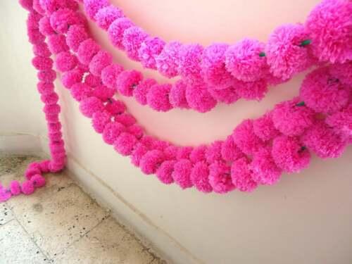 Wholesale lot 20 Pc Indian Marigold Pink Color Garland Plastic Mehndi Decoration