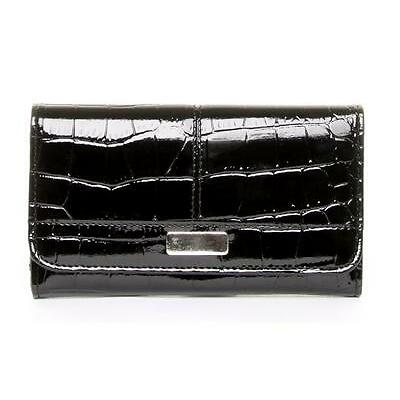 WOMENS LARGE ORGANISER BLACK PATENT CROC FAUX LEATHER PURSE WITH SILVER PLAQUE