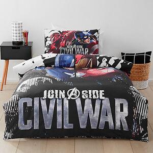 Marvel Civil War Captain America Avengers Queen Bed Quilt