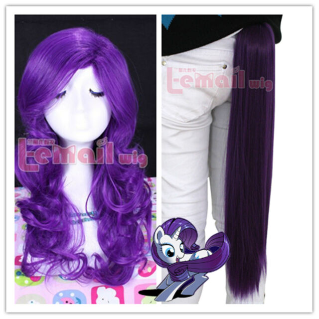 My Little Pony Rarity Dark Purple Synthetic Costume Cosplay Wig Claw On Tail Set