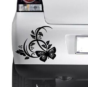 Butterfly Flower Sticker Car Bumper Van Window Wall Laptop Jdm Vinyl