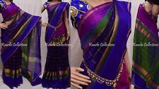 Original Uppada Zari Border Pure Silky Saree Hand Weaved South Indian Pattu Sari