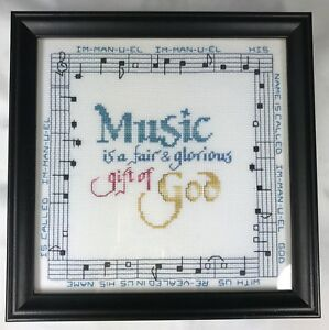 Finished-Framed-Cross-Stitch-Music-is-a-Fair-amp-Glorious-Gift-of-God-9-25-034-1996