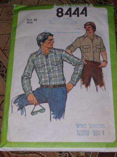 1978 SIMPLICITY #8444 MEN/'S LONG SLEEVE WORK SHIRT PATTERN  40 or 42 or 44