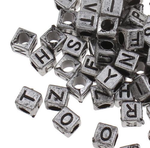 450 Buchstabenperlen 6mm Silber Kunststoffbuchstabe Acryl schmuck DIY D100#3