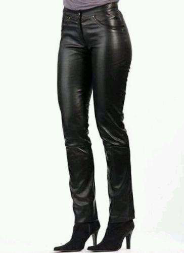 Women & Girls 100% Genuine Lambskin Leather Motor Biker Trouser Pant Slim-Fit