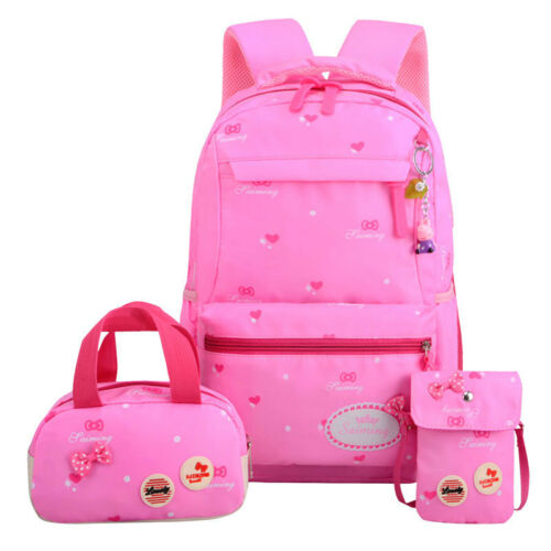 bow-knot dot Children Girls Teenagers Kids Orthopedics Backpack School bag sets