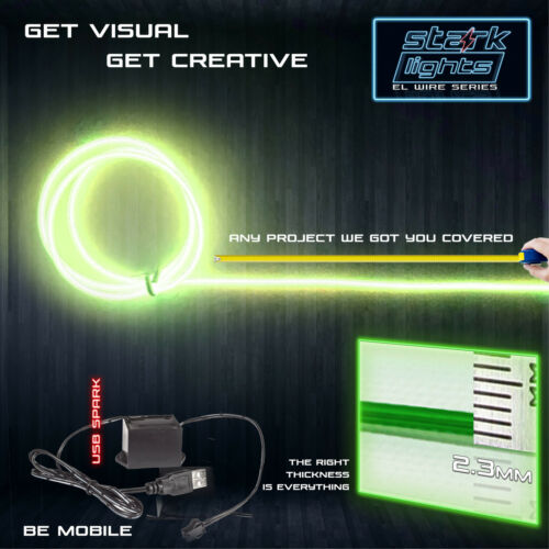 LIME GREEN Neon LED Light Glow EL Wire Control String Rope Tube 2.3mm Thick