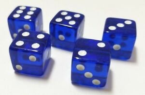 16mm-10Pcs-Transparent-Six-Sided-Spot-Dice-Toys-D6-RPG-Role-Playing-Game-Blue