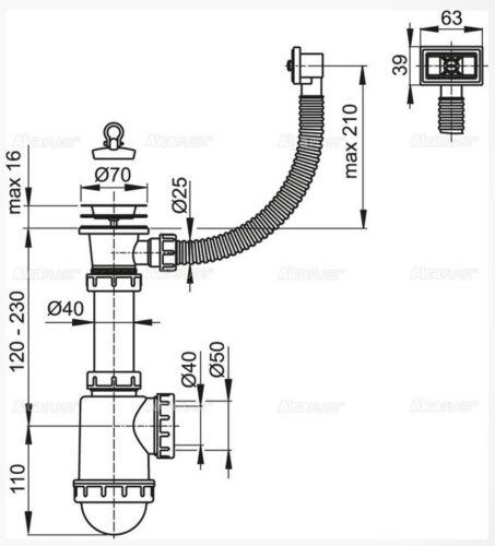 Spültisch Siphon Universal DN70 mit Überlauf Spülmaschinenanschluss Sifon Neu