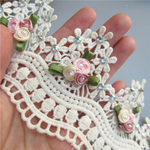 1 Yard Apricot Diamond Flower Pearl Lace Edge Trim Ribbon Applique Sewing Craft