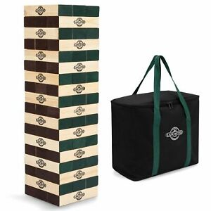 Lancaster Gaming Company Giant Wooden Tumbling Tower Outdoor Game, Black & Pine