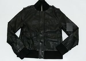 e48e2a1e4 Details about Nixon SNIPER BOMBER Black Blue Gray Zip Up Faux Cracked  Leather Junior's Jacket