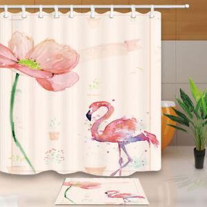 "Watercolor Floral Wreath Flamingo Shower Curtain Set Waterproof Fabric Hooks 72/"""