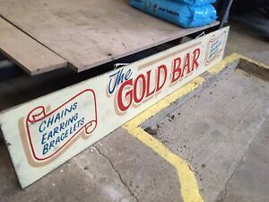 Vintage-Retro-Fairground-Sign-Amusements-Gold-Bar-Hand-Painted-Display-Decor-Old