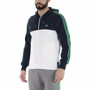 New-Mens-Adidas-Zip-Hooded-Jacket-Coat-Hoodie-Tracksuit-Sweatshirt-Hoody-Blue
