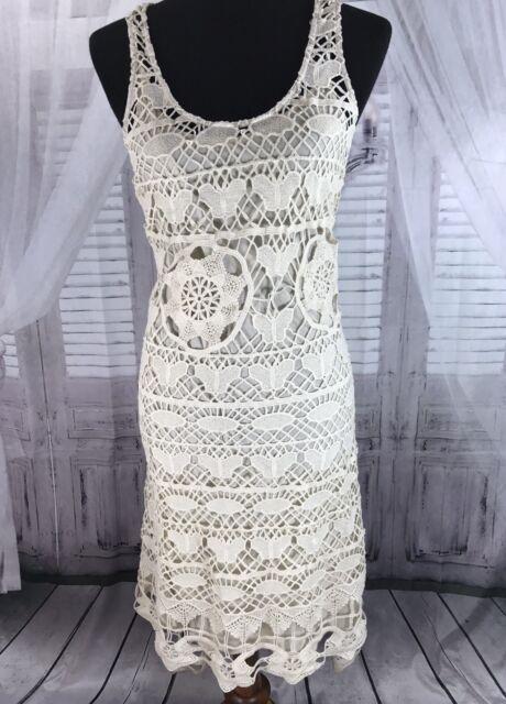 2d28db6815 NWT Ark   Co Anthropologie Womens Swim Cover Up Dress Crochet Ivory OS Sz S