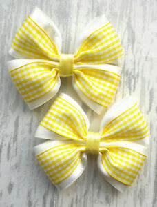 Handmade School Yellow Gingham Hair Bow Bobbles Sold In Pairs