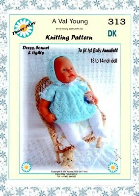 1 DOLLS KNITTING PATTERN  to  fit 1st Baby Annabell Doll 13 //14ins No 249