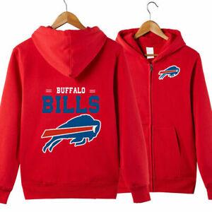 Buffalo Bills Football Hoodie Warm Jacket Hooded Sweatshirt Full-Zip Coat /&*/&