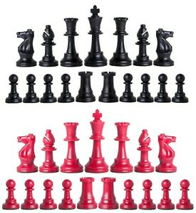 4 Queens Staunton Triple Weighted Chess Pieces Full Set 34 Black /& Silver