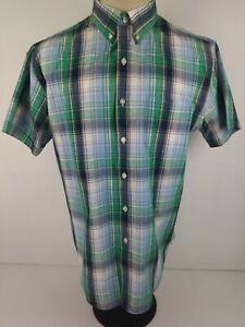8ecddfc6158 Van Heusen Classic Fit Mens L Green Blue Check Short Sleeve Button ...